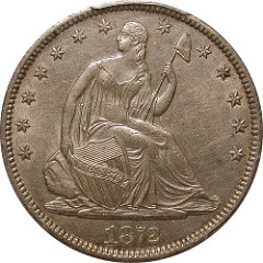 COUNTERFEIT 1872-S LIBERTY SEATED HALF